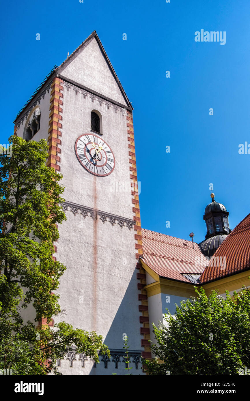 Clock tower, Füssen Town, Ostallgaü, Bavaria, Germany Stock Photo