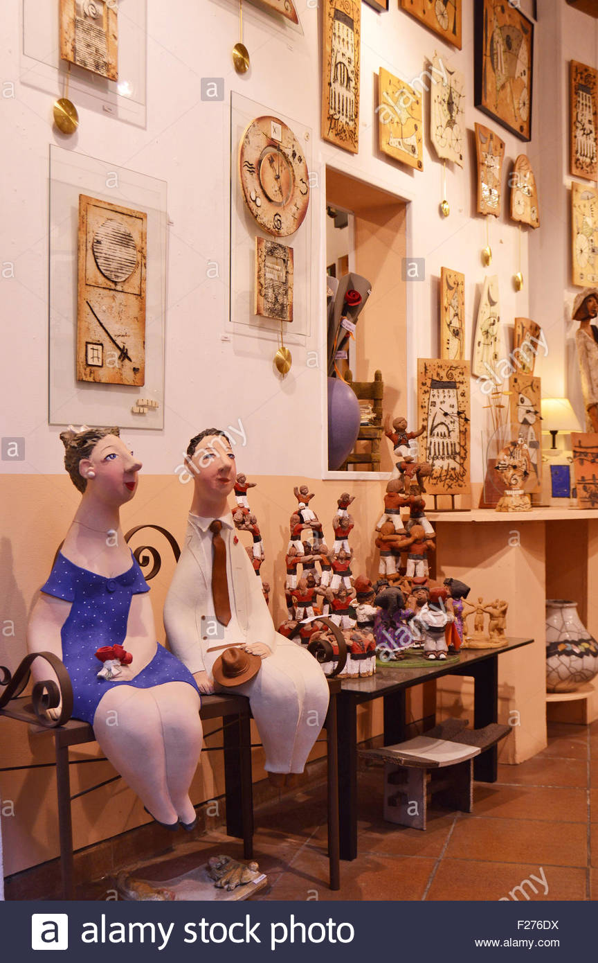 Inside ceramics pottery products shop in Barcelona Spain Europe Stock Photo