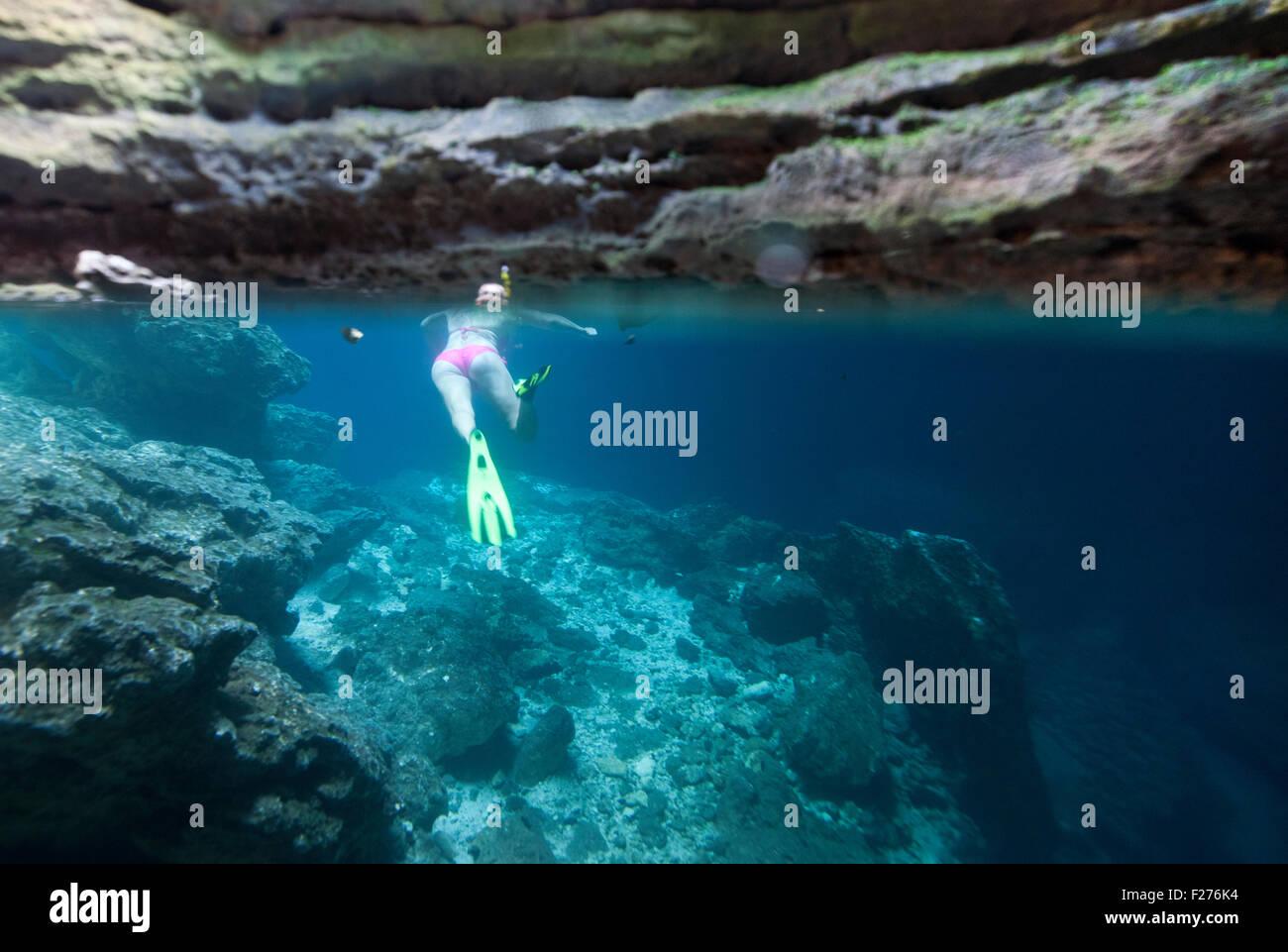 Split shot of a bikini clad Woman Snorkeling in Devils Den Underground Spring in Williston Florida - Stock Image