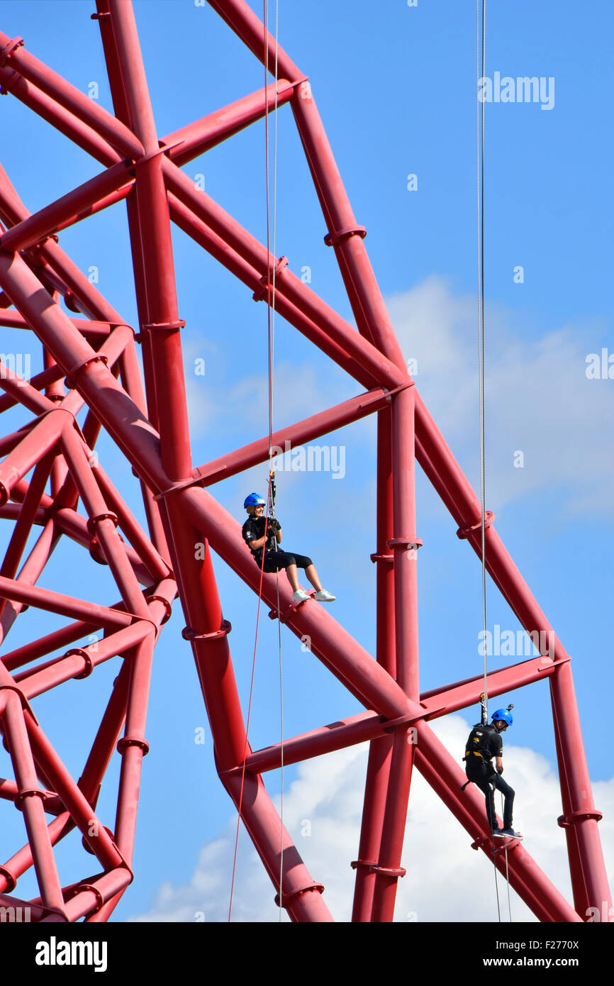 ArcelorMittal orbit tower abseiling orbit from high level observation platform in Queen Elizabeth Olympic Park Stratford - Stock Image
