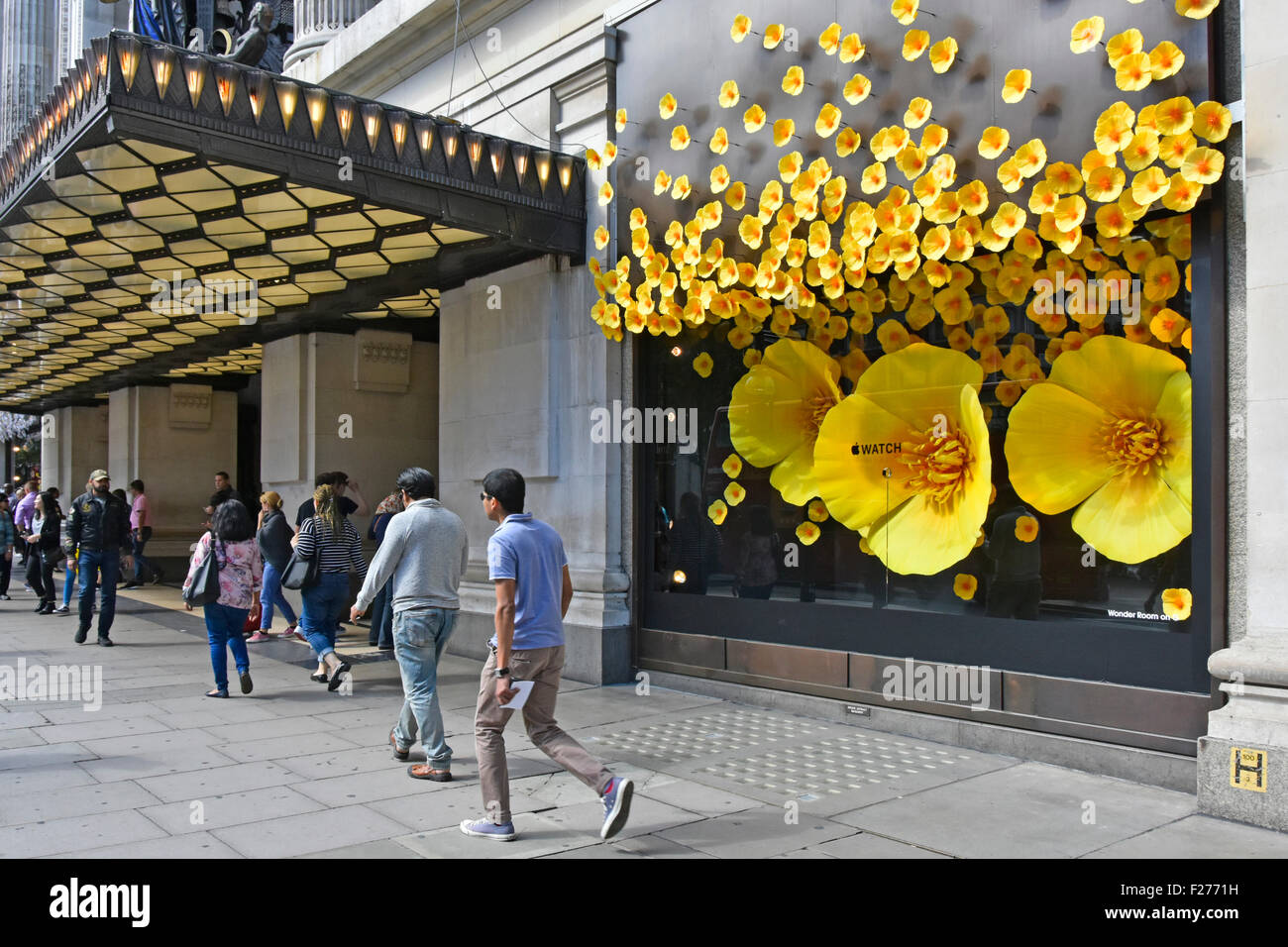 Selfridges department store major promotion in most of its Oxford Street store windows for Apple Watch theme of - Stock Image