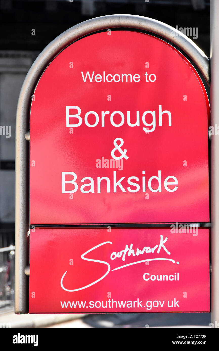 Southwark Council neighbourhood welcome sign to Borough and Bankside district in London - Stock Image