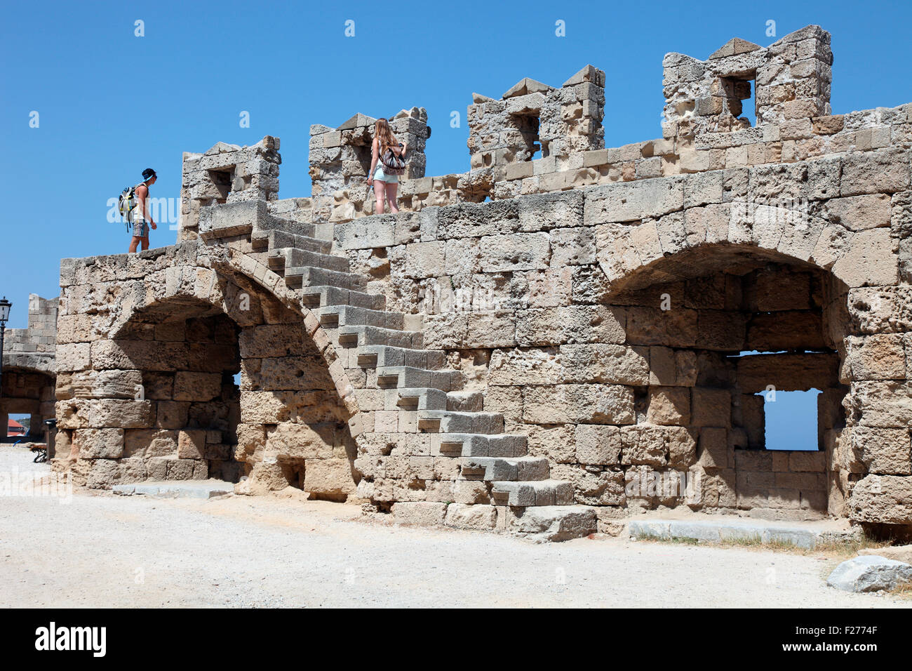 15th century walls of Rhodes Old Town - Stock Image