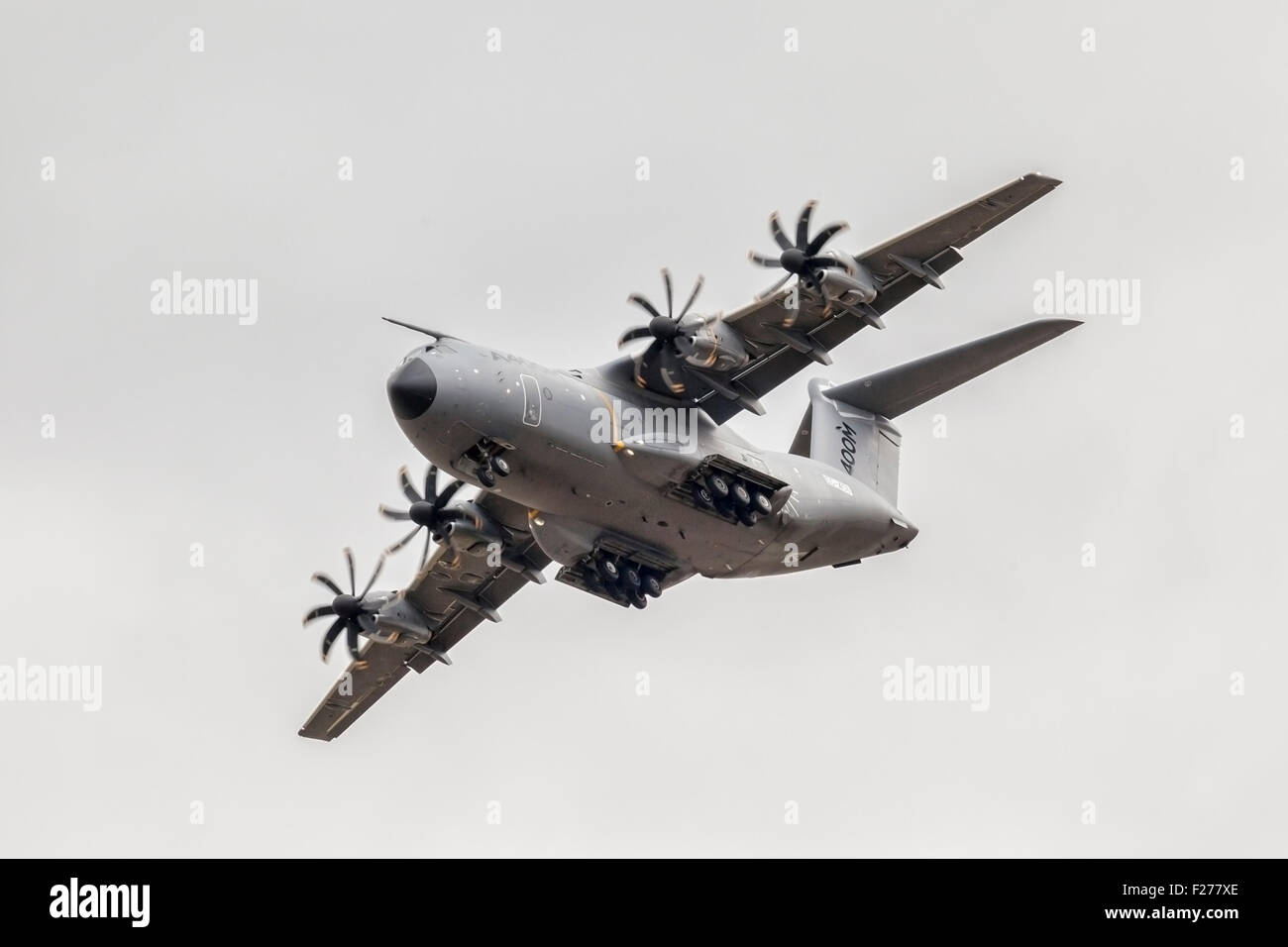 Airbus A400M military transport aircraft being demonstrated at RIAT 2015, at Fairford, Gloucestershire. - Stock Image
