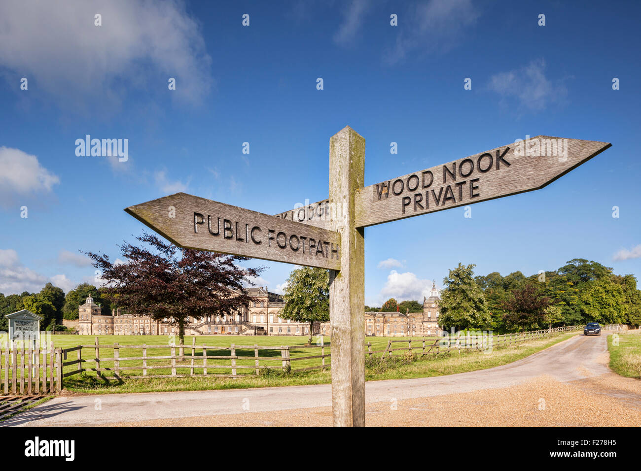 Public Footpath sign in the grounds of Wentworth Woodhouse, the largest house in private ownership in Britain, near - Stock Image