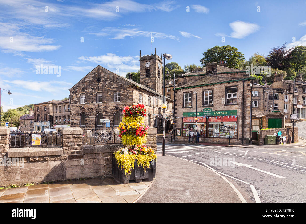 Made famous by the television comedy series Last of the Summer Wine, the West Yorkshire village of Holmfirth, England, - Stock Image