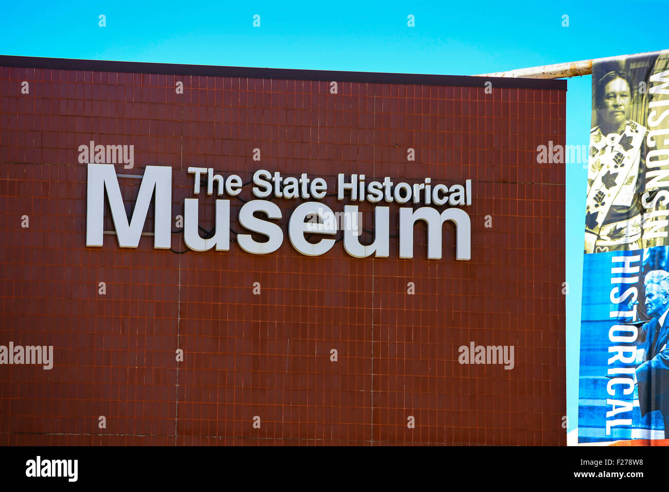The State Historical Museum sign on the wall of the building in downtown Madison, Wisconsin - Stock Image