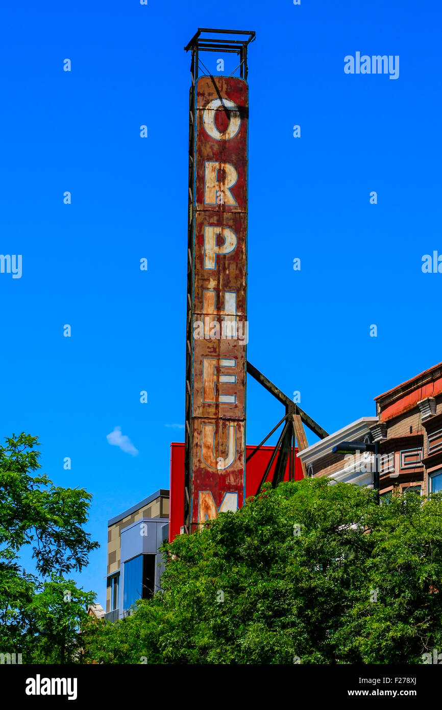 The old rusty sign of the Orpheum Theater on State Street in Madison Wisconsin - Stock Image
