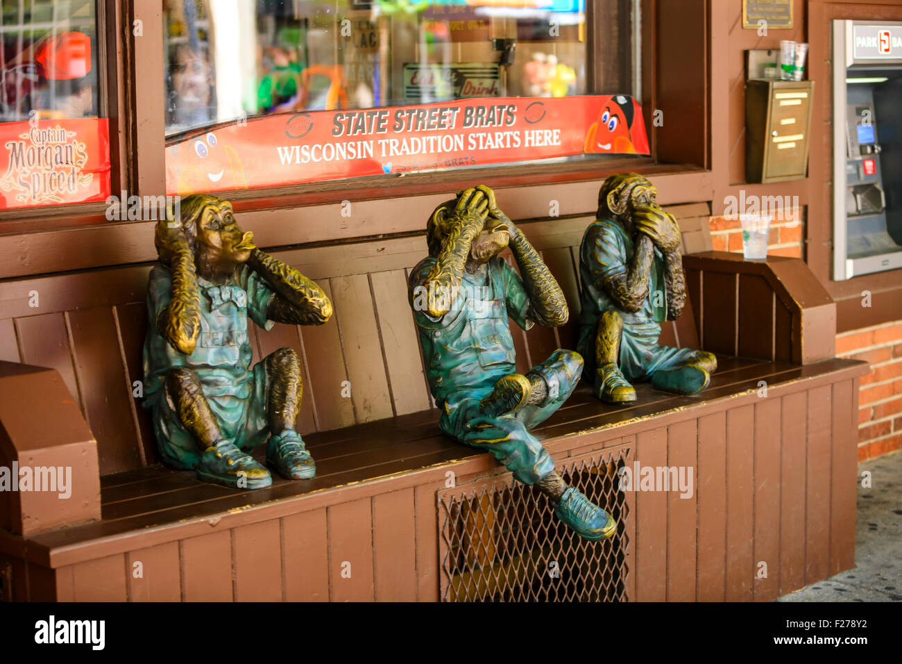 The three wise monkeys - See No Evil, Hear no Evil and Speak no Evil - Stock Image