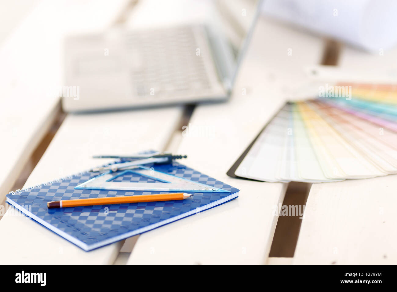 Stationary lying on the table. - Stock Image
