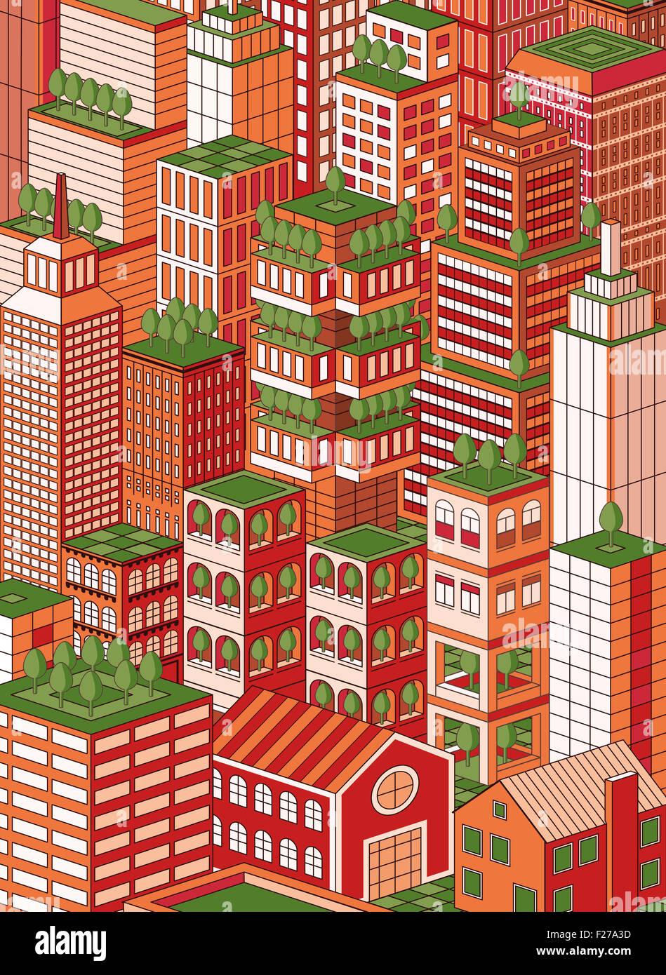isometric green town cityscape - Stock Image