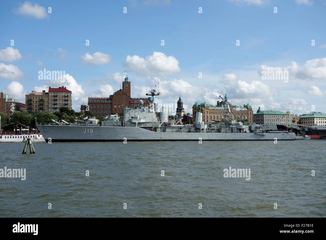 If HMS Smaland previously a destroyer warship and now anchored in Maritiman museum in gothenburg, Sweden - Stock Image
