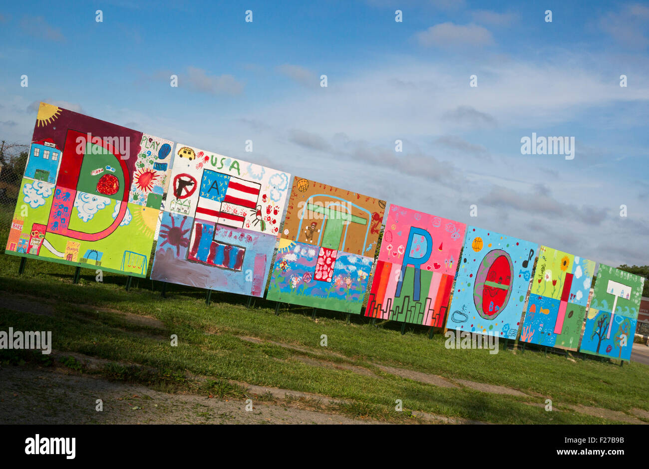 Detroit, Michigan - A painting spelling out 'Detroit' on the city's east side. - Stock Image