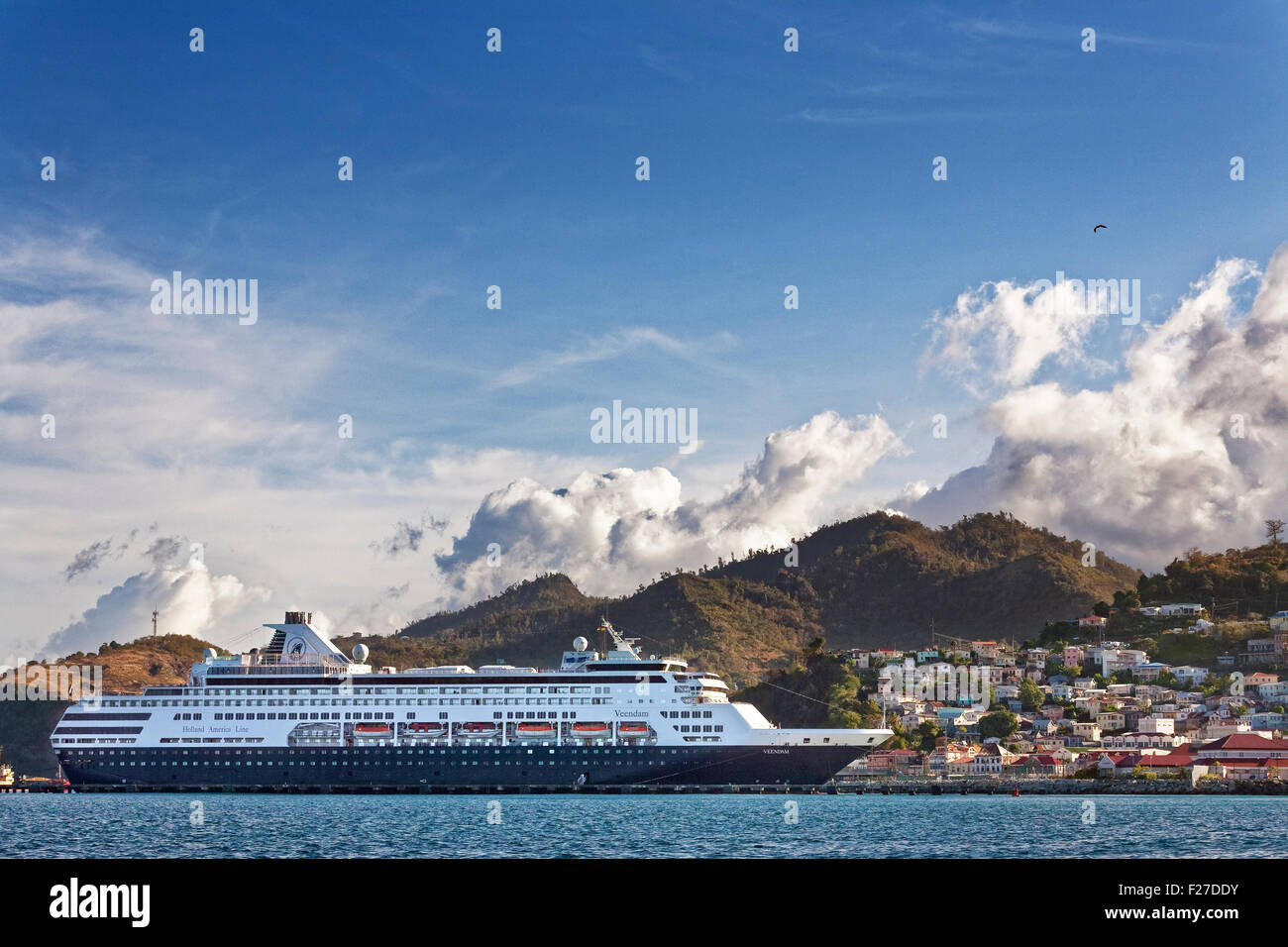 Holland America Cruise Ship in the Carnage, St. George, Grenada - Stock Image
