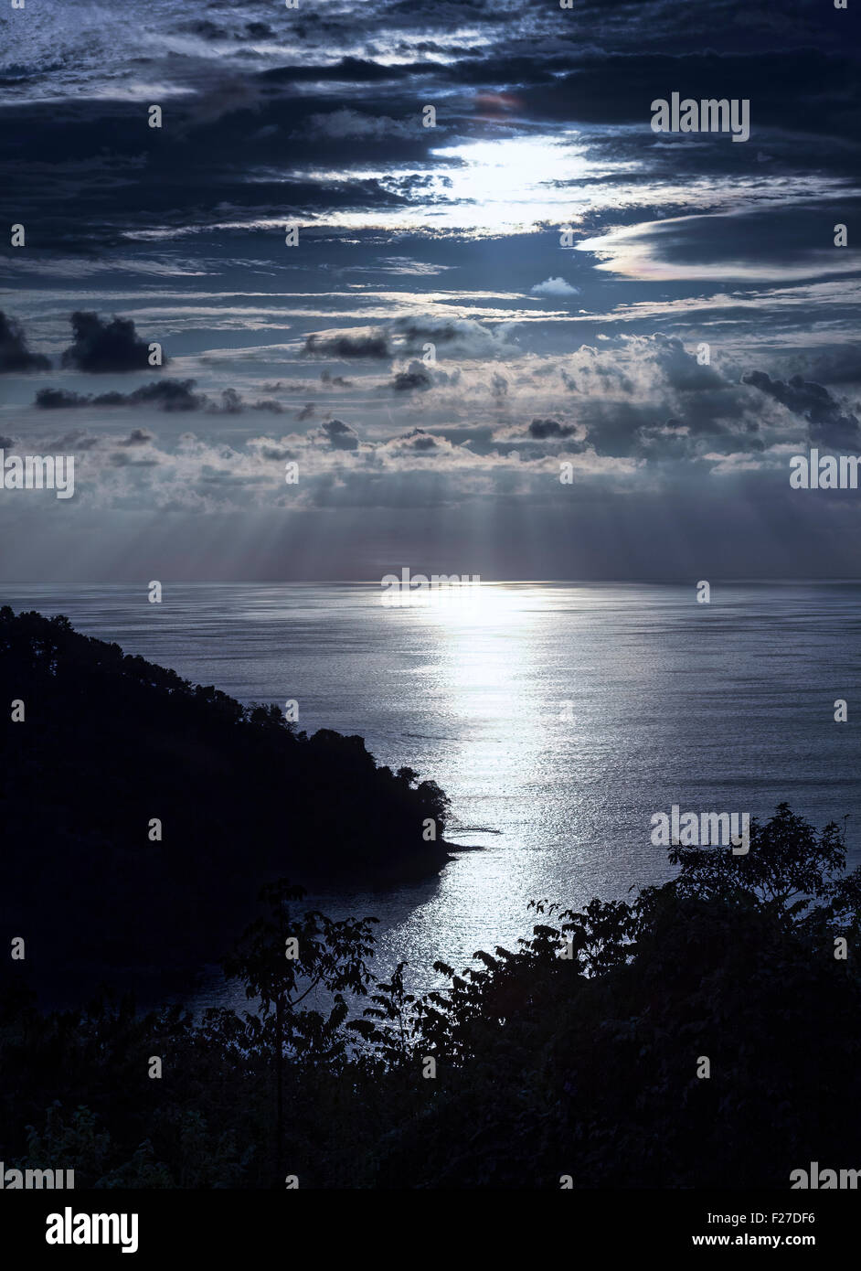 Moonlight on the Pacific, Costa Rica - Stock Image