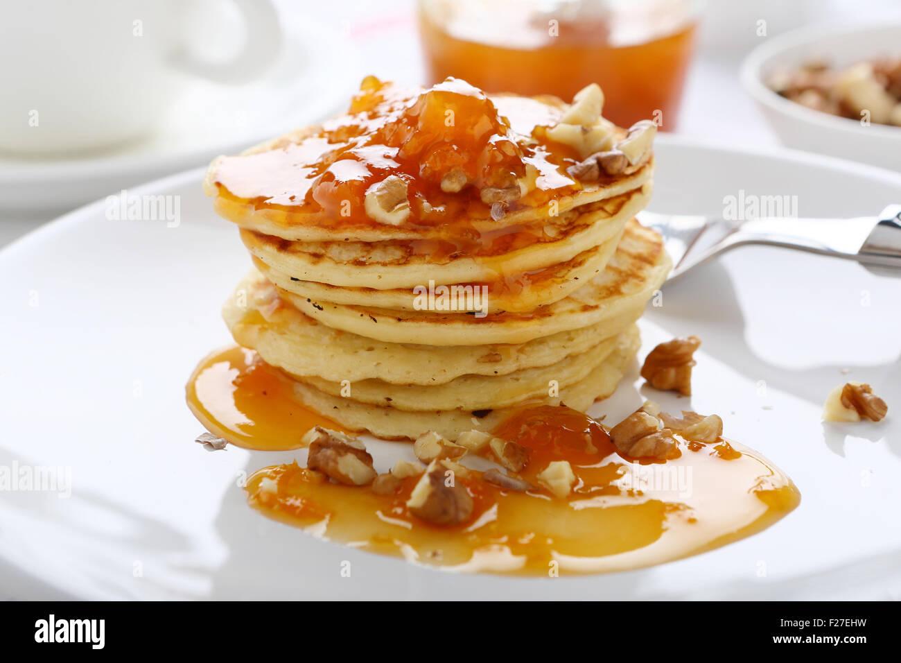 Pancakes with sweet jam, sweet dessert - Stock Image