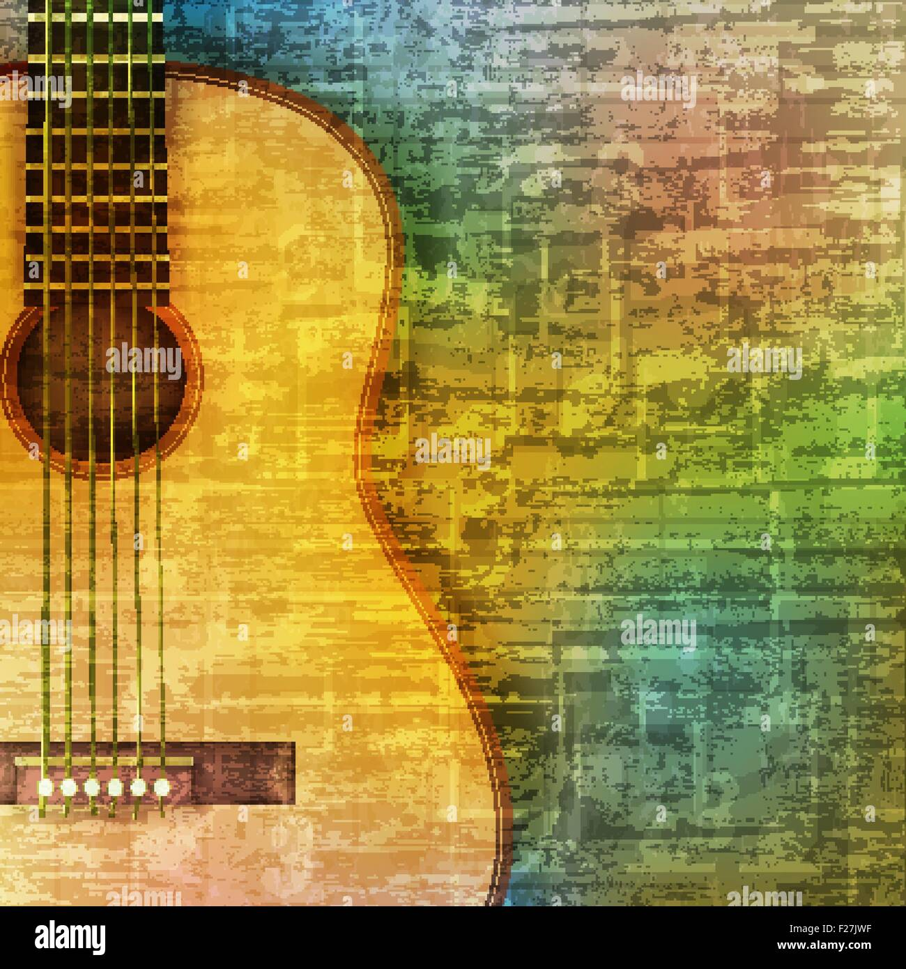 Abstract Green Music Grunge Background Acoustic Guitar Vector Stock