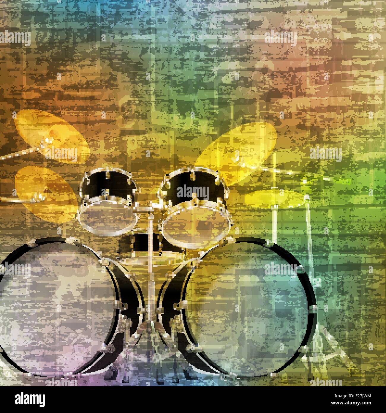 abstract green music grunge background drum kit vector illustration ...