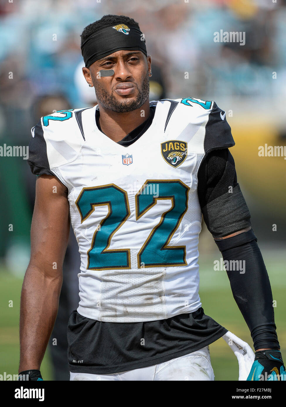 Jacksonville, FL, USA. 13th Sep, 2015. Jaguars cornerback Aaron Colvin (22) as seen during 2nd half NFL game action - Stock Image
