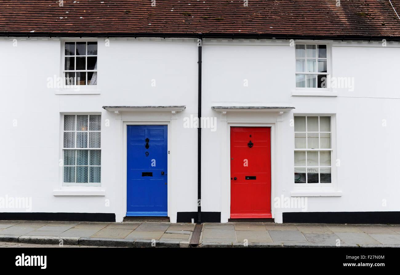 Godalming Surrey UK Blue Door Red Door On Old Properties Stock .