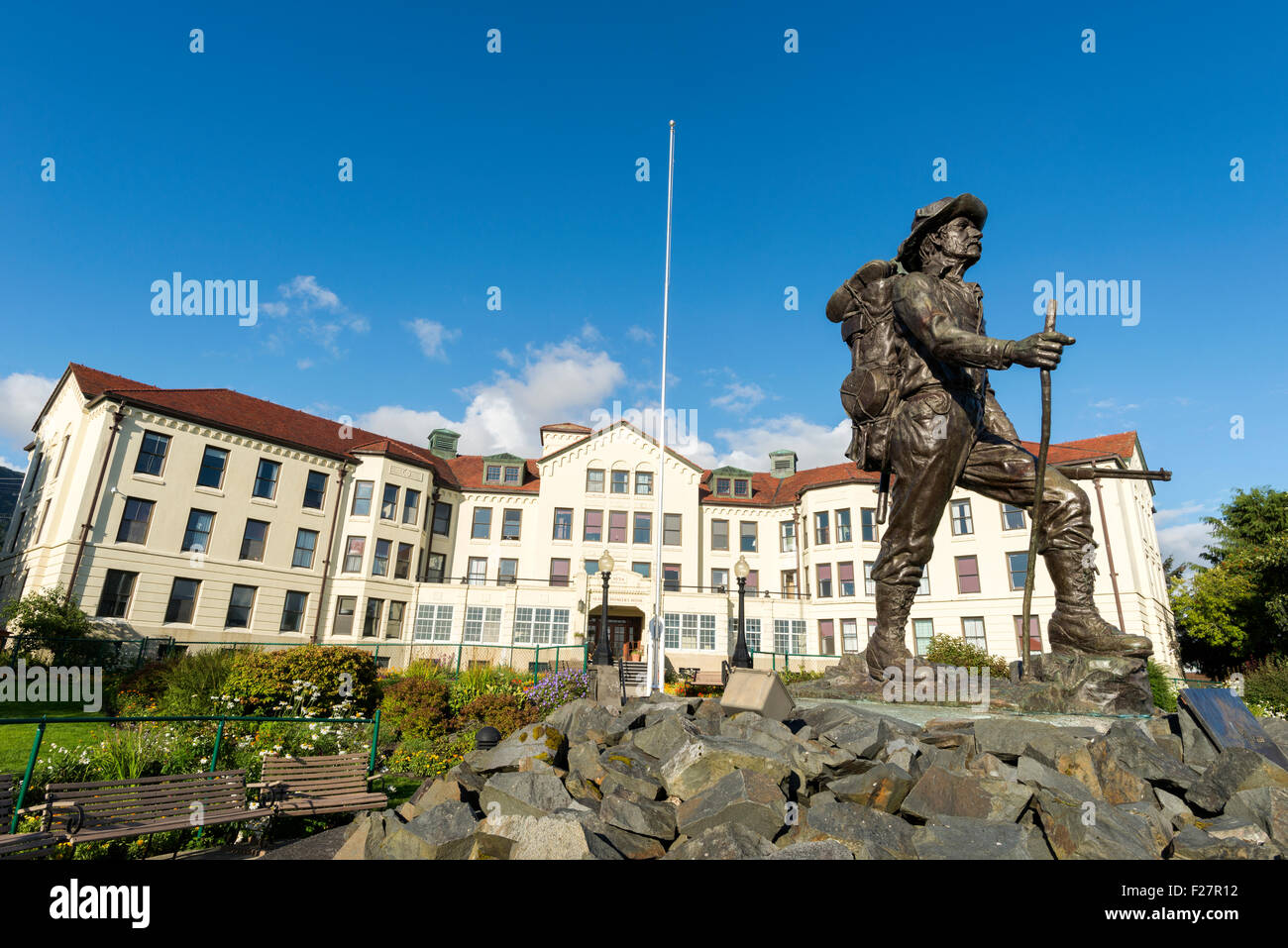 Prospector statue in front of the Pioneer Home in Sitka, Alaska. - Stock Image