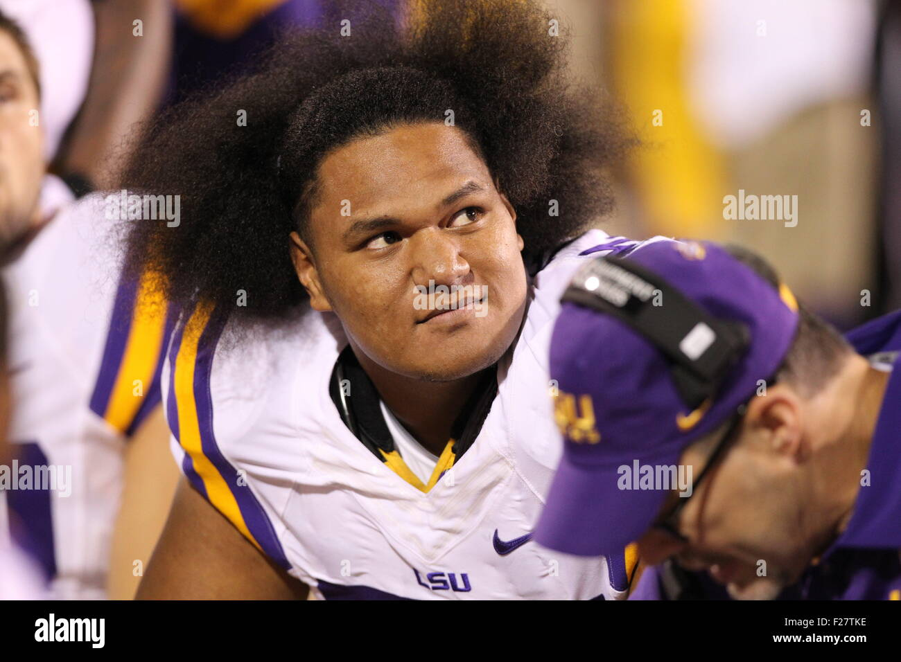 LSU LG, Maea Teuhema (75) watches the video board during the NCAA Football game between the LSU Tigers and Mississippi - Stock Image