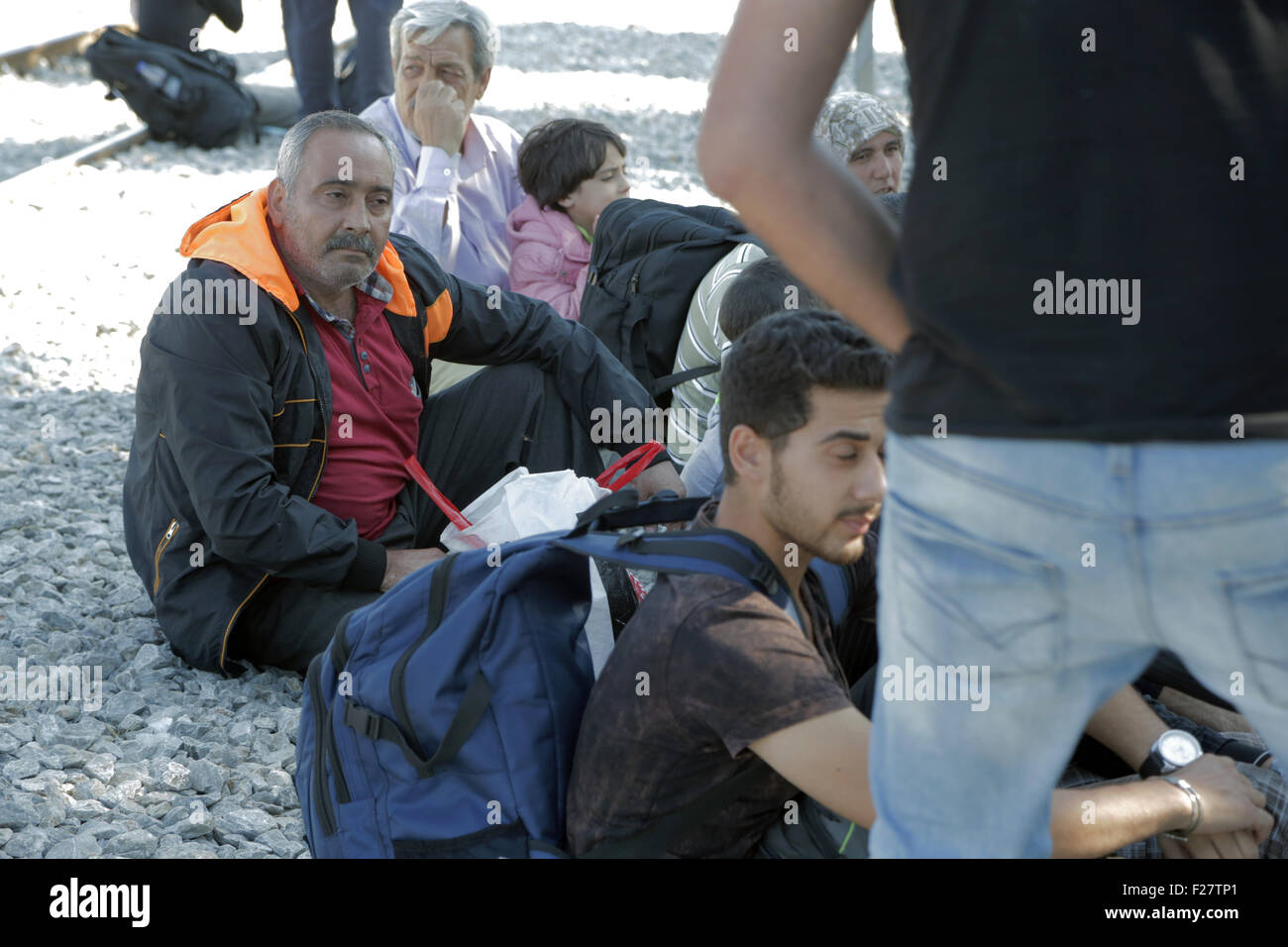 Idomeni, Greece. 12th Sep, 2015. Syrian refugees in Idomeni Greece are crossing the borders with Macedonia Credit: - Stock Image