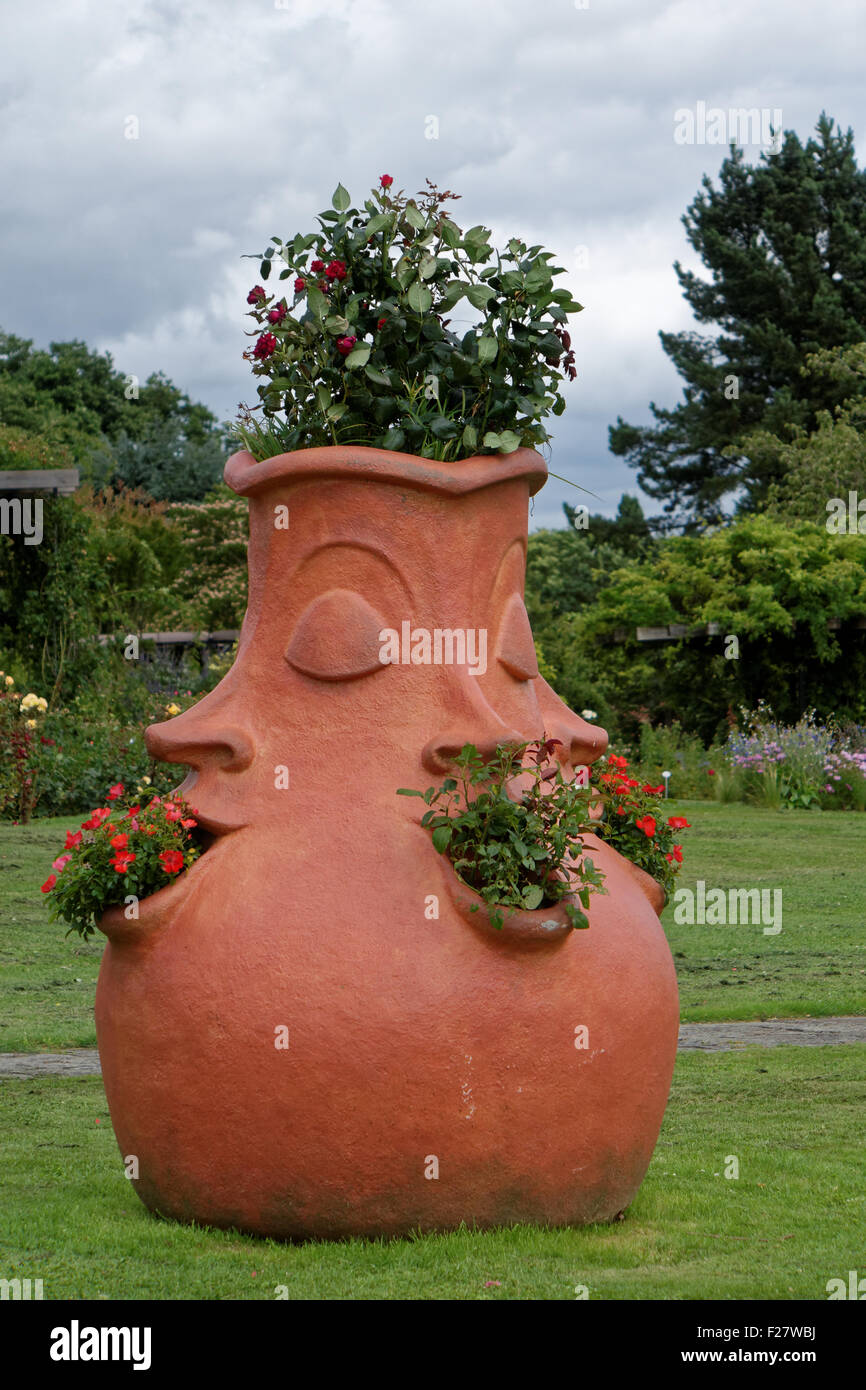 Plant Pots With Faces   Stock Image