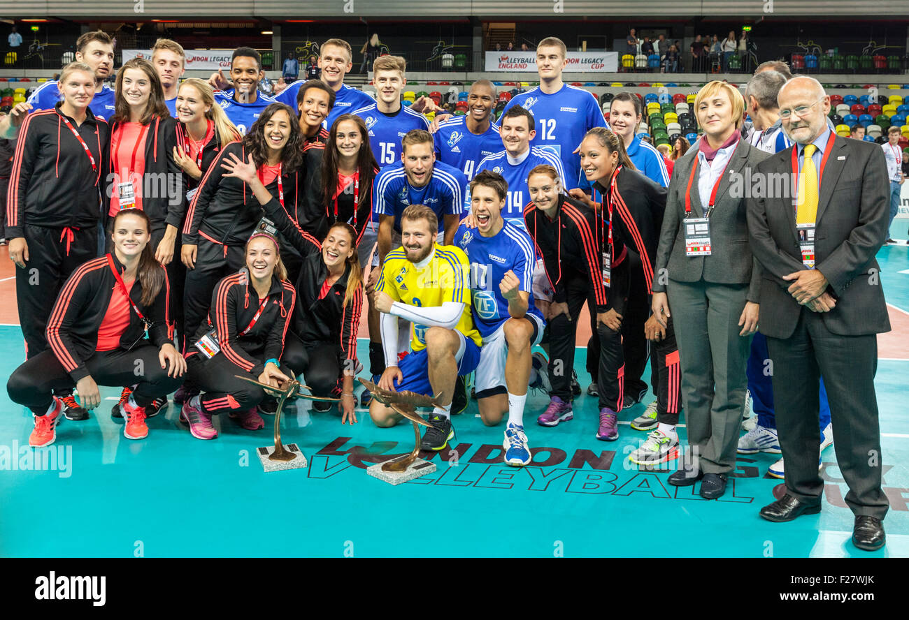Copper Box Arena, London, UK. 13th Sep. 2015. VfB Friedrichshafen players celebrate winning the game and overall - Stock Image