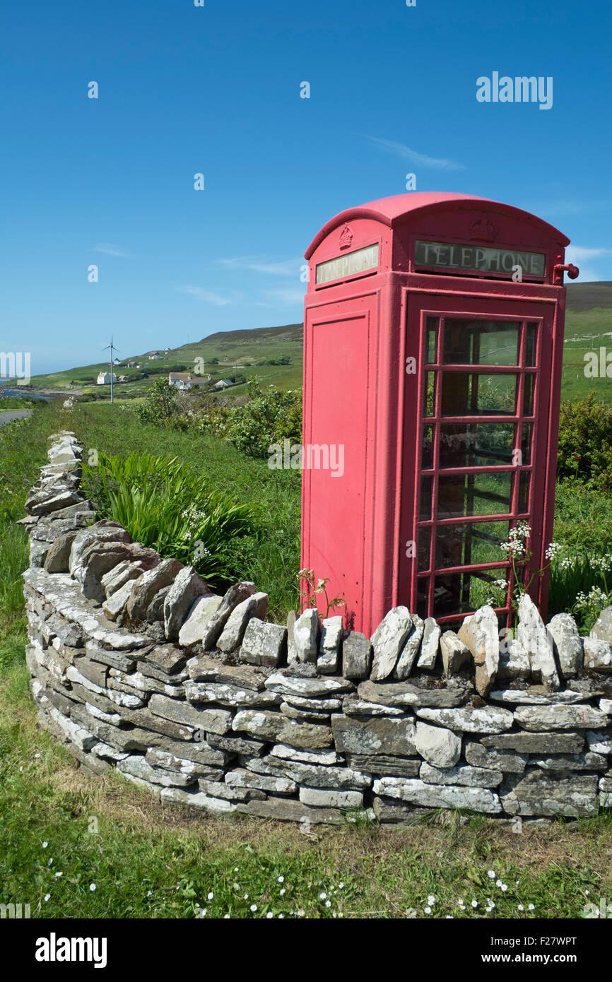 Telephone box, Rousay, Orkney, Scotland - Stock Image