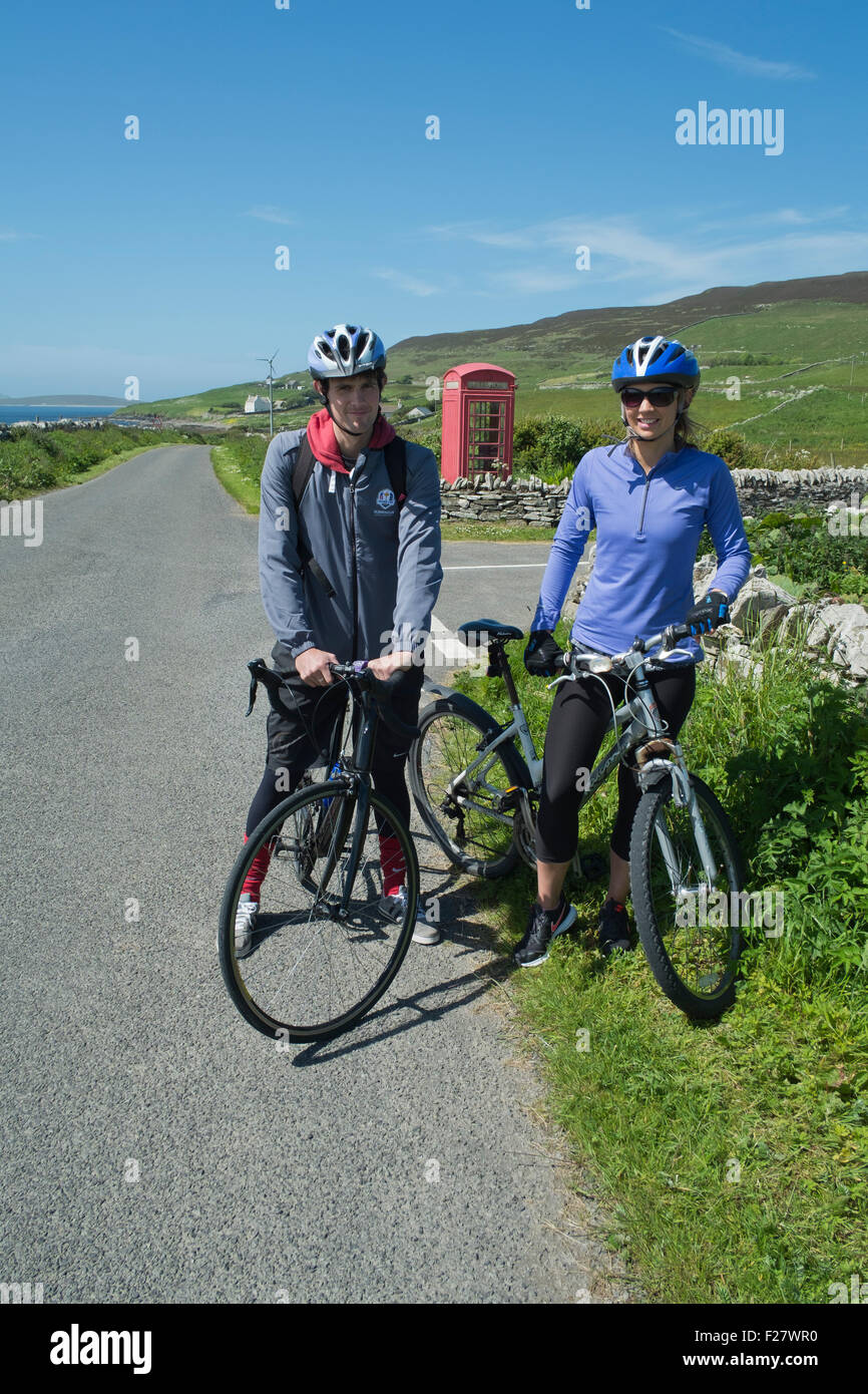 Cyclists, Rousay, Orkney, Scotland - Stock Image