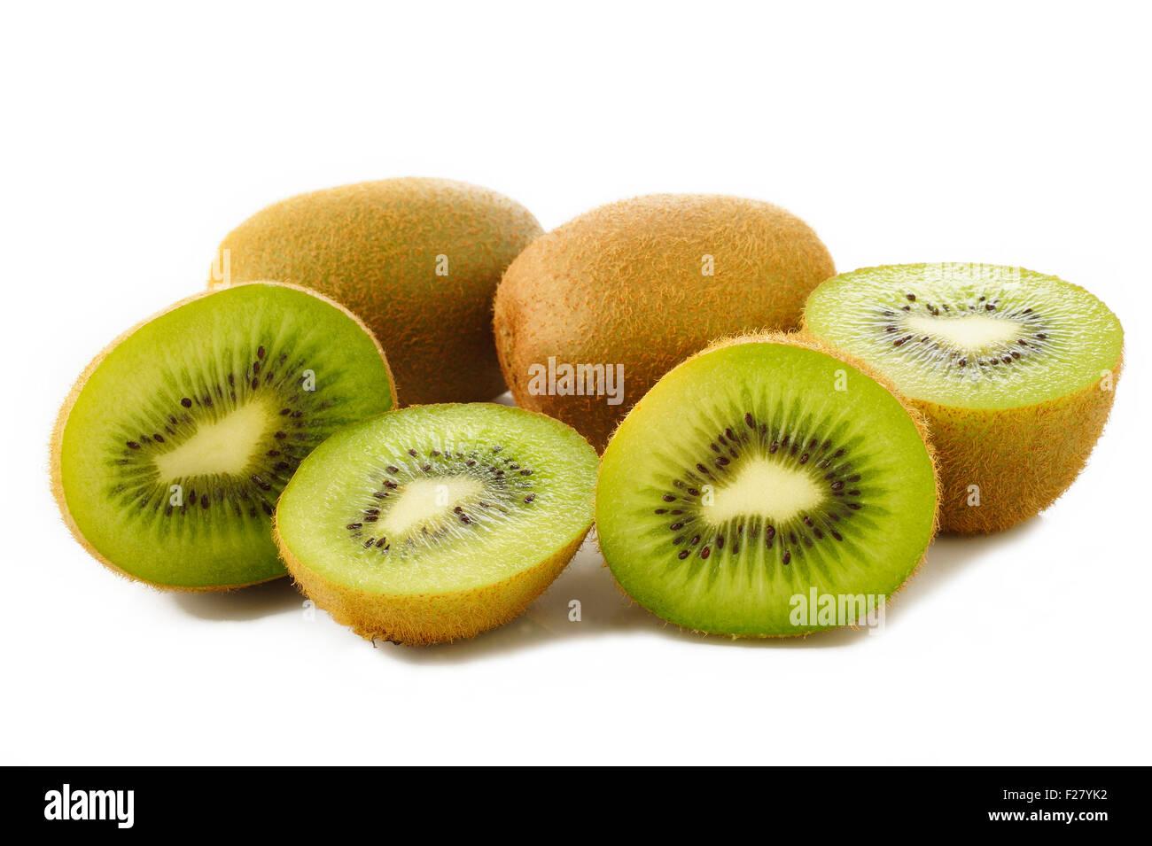 kiwi fruit on white background - Stock Image