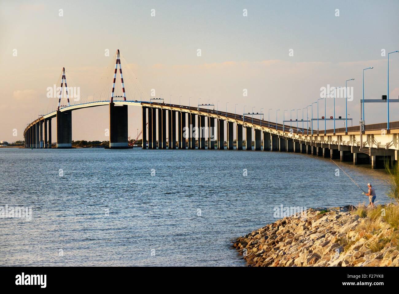 The cable-stayed Saint Nazaire Bridge, Le Pont Saint-Nazaire, spans the River Loire estuary. Brittany, France. Looking Stock Photo