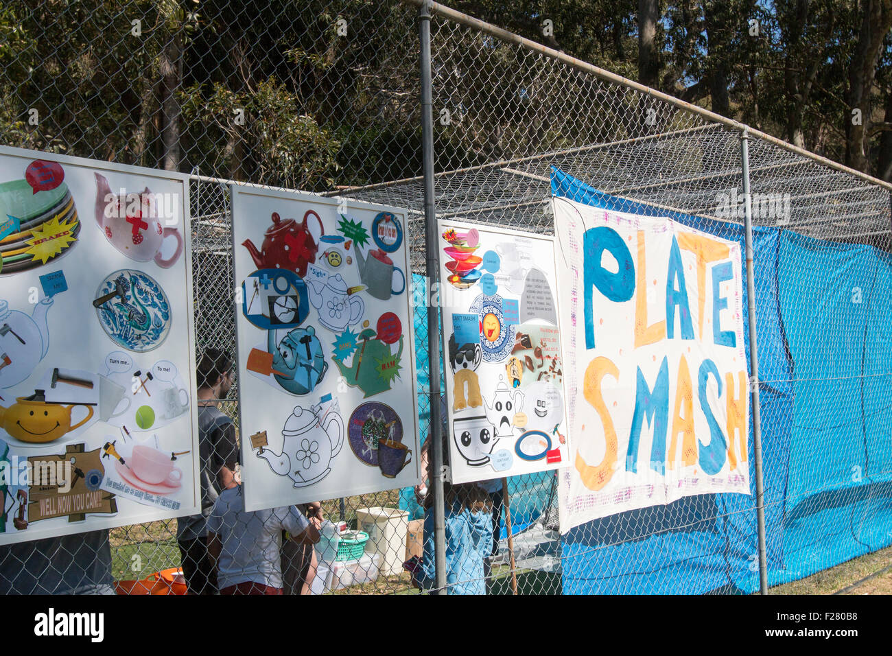 plate smashing Sydney primary school hosts the local community fete fair to raise funds for the school,Avalon,Sydney,Australia - Stock Image