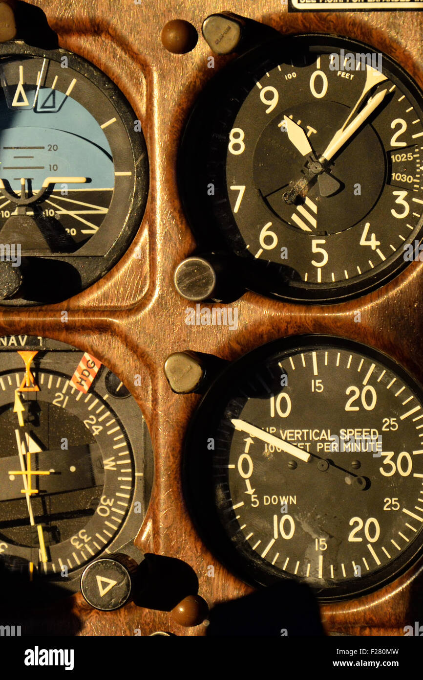 Instruments in the cockpit of of Cessna 210 aircraft - Stock Image