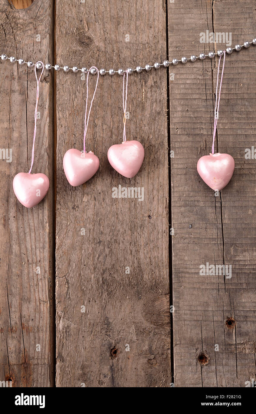 Vintage Heart Shapes On A Rustic Wooden Background Love Concept