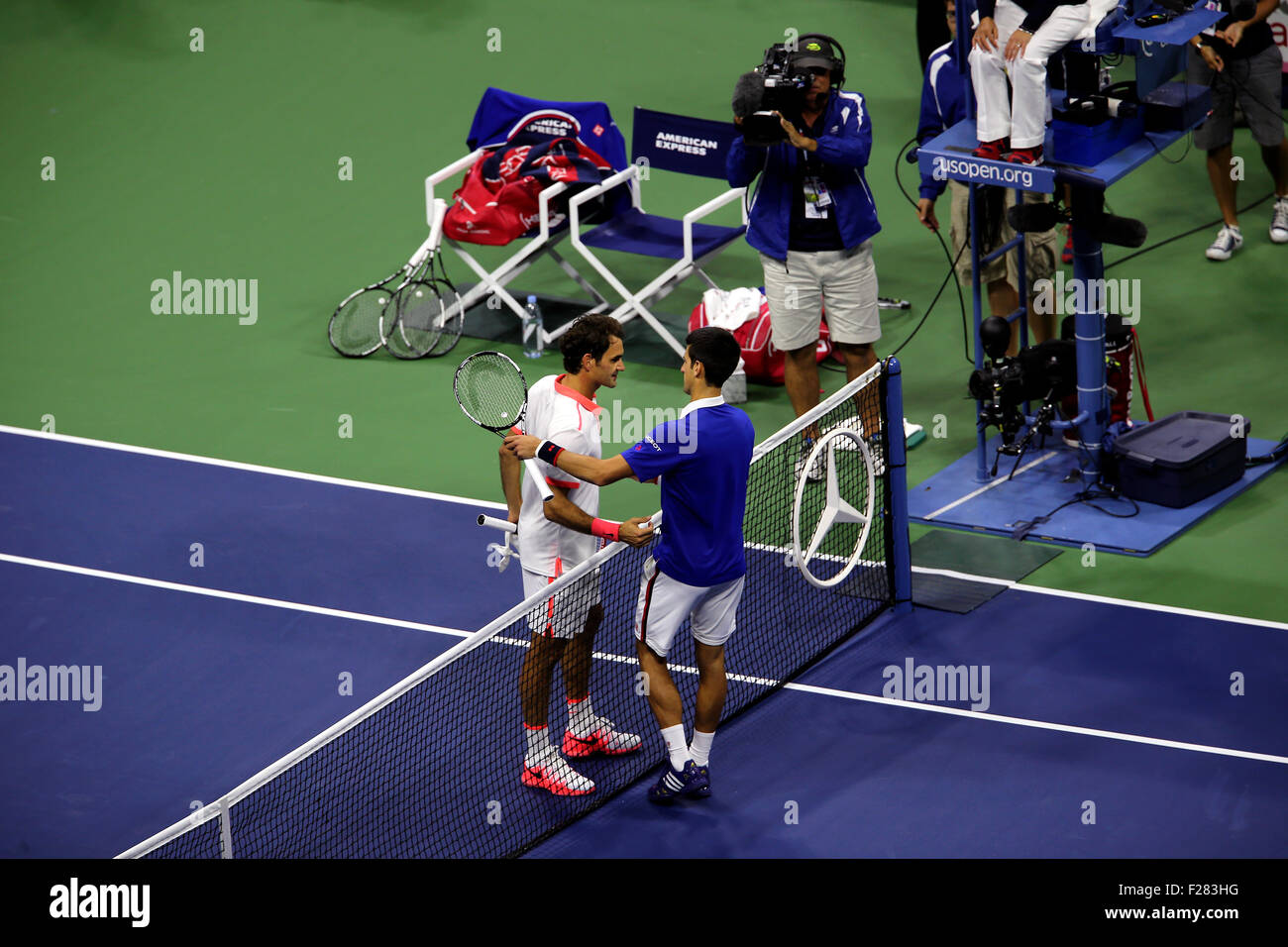 New York, USA. 13th Sep, 2015. Novak Djokovic of Serbia shakes hands with Roger Federer after Djokovic defeated - Stock Image