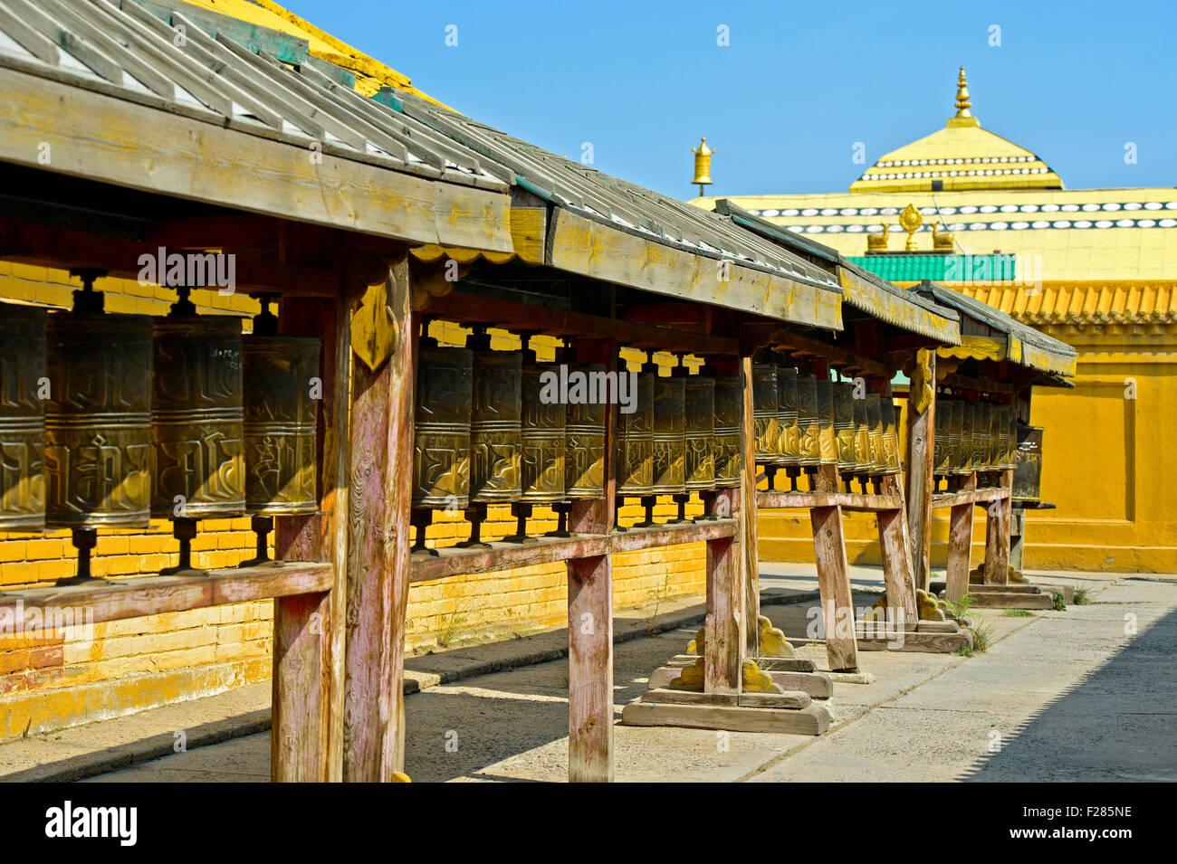 Prayer mills in the Buddhist Gandan Monastery, Ulaanbaatar, Mongolia - Stock Image