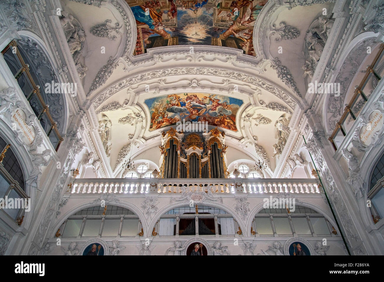 Organ loft, Benediktbeuern, Bavaria, Germany - Stock Image
