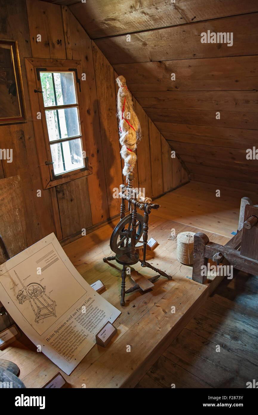 Old Spinning Wheel, Farm Museum Jexhof, Schöngeising, Bavaria, Germany Stock Photo