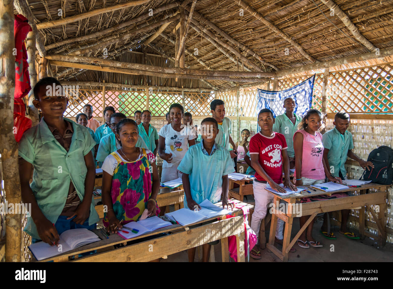 School class with children, about 12-14 years old, school in Morondava, Madagascar Stock Photo