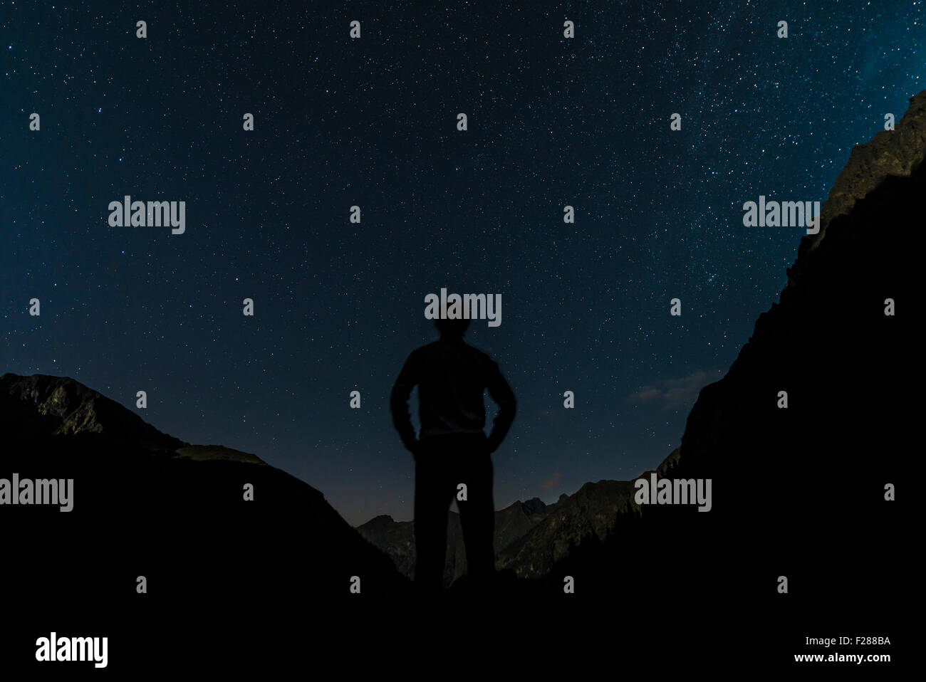 Silhouette of person gazing at the stars, starry sky at night, Rohrmoos-Untertal, Schladming Tauern, Alps, Styria, - Stock Image
