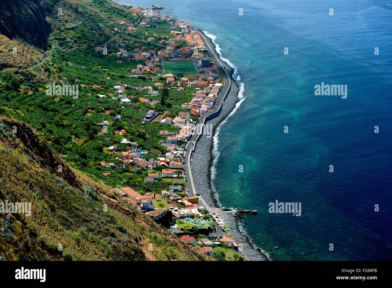View of Paul do Mar, West Coast, Madeira, Portugal - Stock Image