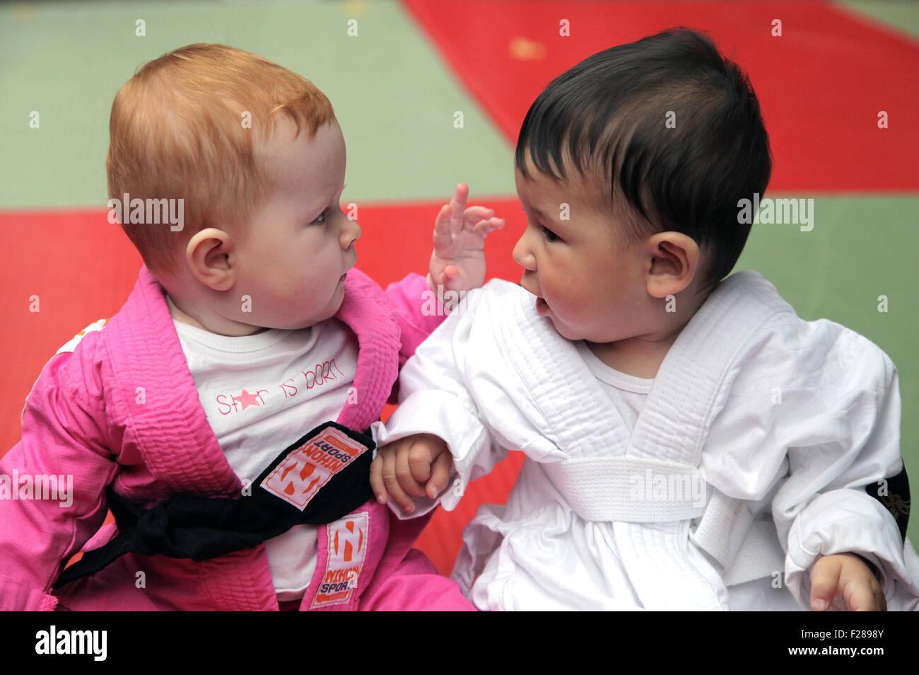 Kung Fu Babies - Stock Image