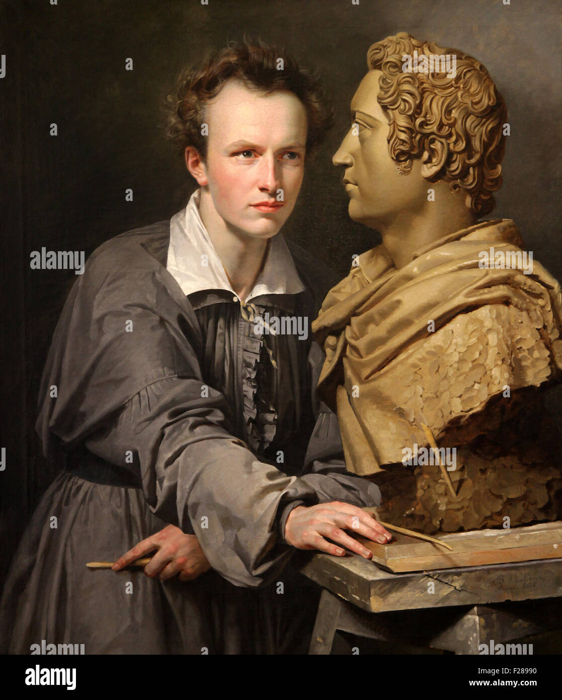 Portrait of the Bossche sculptor van der Ven by Vieillevoye 1798-1855 - Stock Image