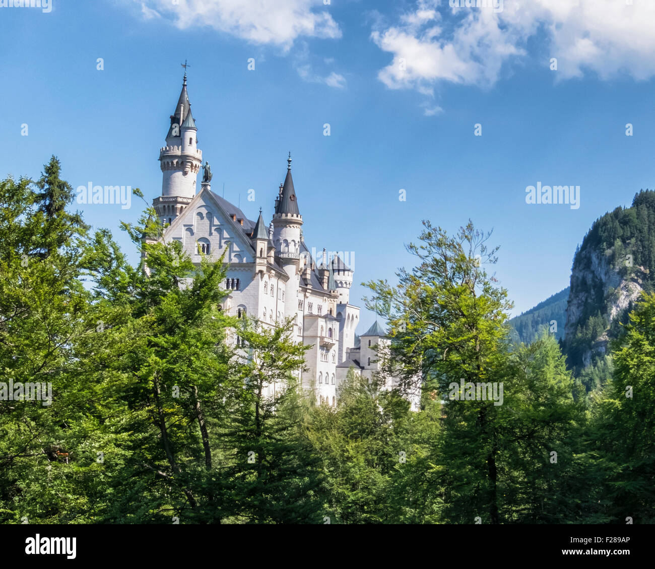 Neuschwanstein castle, schloss, Gothic palace built by King Ludwig ll above Hohenschwangaü Village, Schwangau, - Stock Image