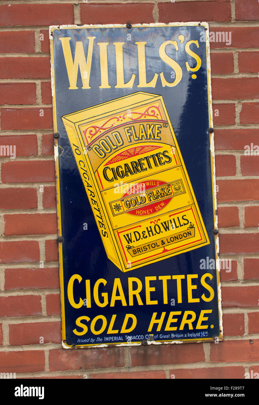Wills's vintage metal advertisement sign. - Stock Image