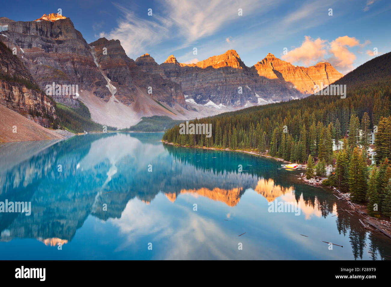 Beautiful Moraine Lake in Banff National Park, Canada. Photographed at sunrise. - Stock Image