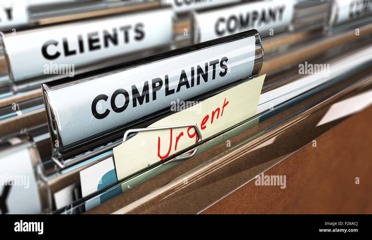 Close up on a file tab with the word complaints, focus on the main text and blur effect. Concept image for illustration - Stock Image