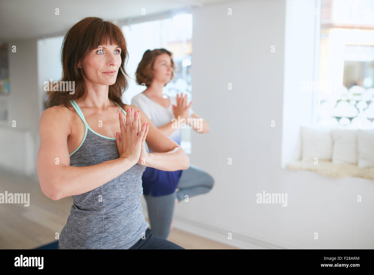 Two women in sportswear practice yoga together, standing in vrikshasana with hands in Namaste gesture. Female standing - Stock Image